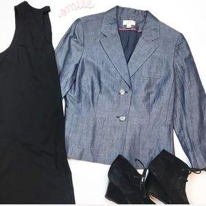 Loft blue chambray lightweight jacket blazer sz 8